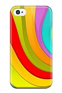 Fashion Tpu Case For Iphone 4/4s- Happy Wavy Colors Defender Case Cover