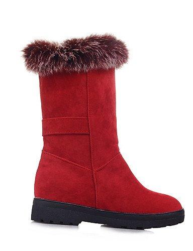 Citior Damen Stiefel Damen Beute Schuhe Fleece Fleece Fleece Keil Ferse Keile Rund Stiefel Casual ad1a13