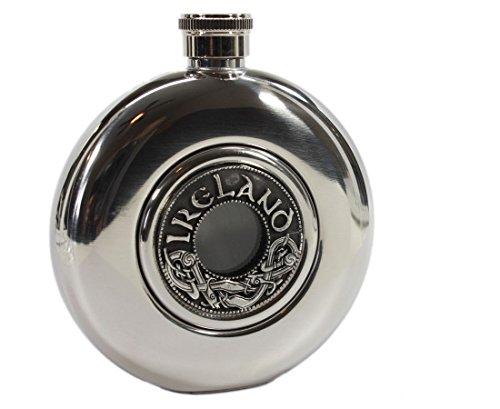 Mullingar Pewter Irish Flask Circular Stainless Steel & Pewter Whiskey Flask 5 Fl. Oz. Made in -