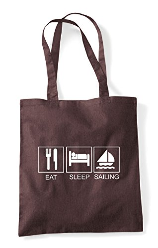 Eat Tote Brown Hobby Activity Sleep Shopper Bag Sailing Tiles Funny HHSwapq