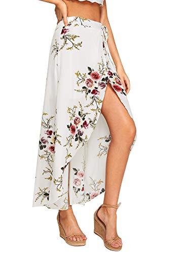 WDIRARA Women's High Waist Asymmetrical Knot Side Floral Print Dip Hem Wrap Skirt White S