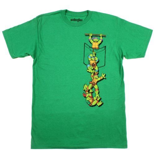 Teenage Mutant Ninja Turtles Pocket Adult Green T-Shirt (Adult Large) Ninja Green T-shirt