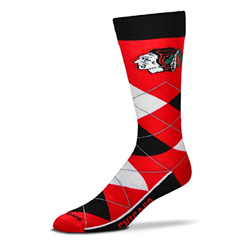 ( For Bare Feet NHL Argyle Lineup Unisex Crew Dress Socks-One Size Fits Most-Chicago)