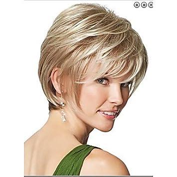 GSP-peluca rubia corta recta natural para pelucas mujer moda