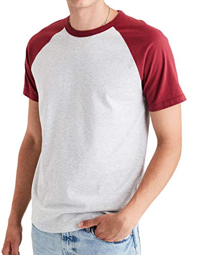 American Eagle Outfitters Mens Short Sleeve Cotton Ragland Baseball Tee T-Shirt Red (Large)