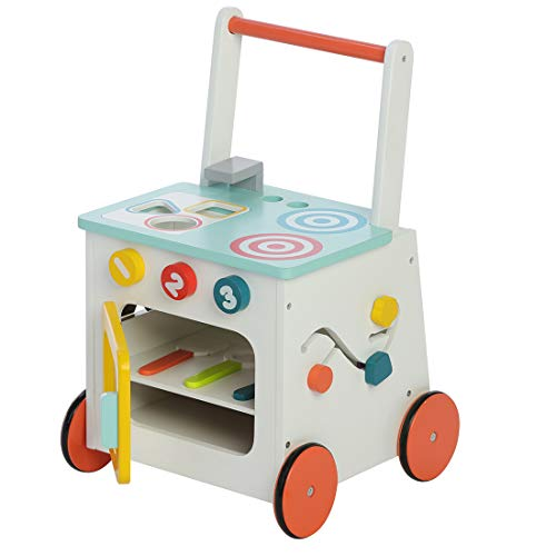 labebe Children 2-in-1 Little Play Kitchen Wooden Push Walker Toddler Push & Pull Toys Activity Walker Stroller Walker Toy Wagon with Wheels for Baby Girls Boys 1-3 Years Old ()
