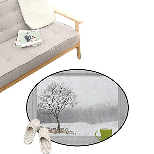 "Winter Round Rug ,Green Teacup on Windowsill Forest Outdoors Snowstorm Scenic Countryside, Flannel Microfiber Non-Slip Soft Absorbent 31"" inch Apple Green Beige White"