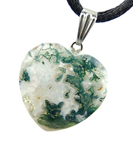 Big Heart Collection - 20mm Classic Moss Agate White Green Clear, 20