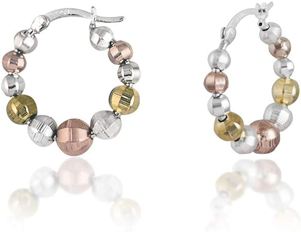 Verona Jewelers Sterling Silver Tricolor Diamond Cut Bead Ball Hoop Earrings, Graduated Bead Hoop Earrings for Women- Silver Bead Hoop Earring for Women,Tricolor Earrings for Women