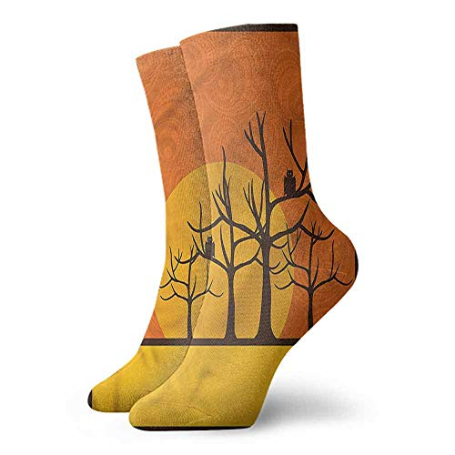 High Ankle Crew Socks Halloween Spooky Bats on Trees Moon Unisex Men's & Womens Socks -