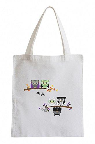 Raxxpurl Halloween gufi sullalbero Fun sacchetto di iuta