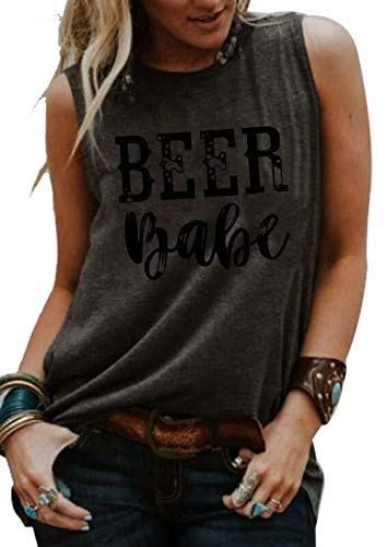 (JINTING Beer Babe Tank Top Shirts for Women Casual Sleeveless Letter Print Graphic Tank Top Tee Shirts with Saying Size XL)