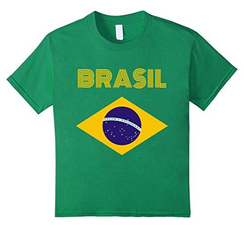 Kids Brazil Flag Yellow Text T-Shirt 12 Kelly Green
