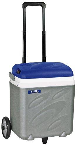 EZetil E30 B RollCooler Thermoelektrische Kühlbox mit Trolley-System, 12V, Grau/Blau