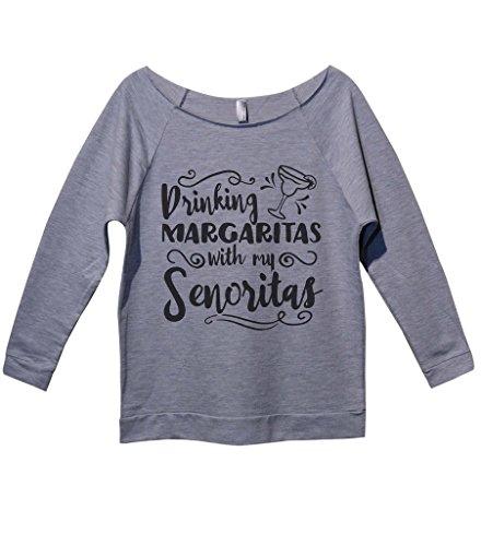 "Funny Drinking Shirts ""Margaritas With My Senoritas"" Royaltee Party Sweatshirts XX-Large, Heather Grey"