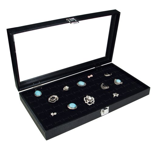 Ikee Design Glass Top Black Jewelry Display Case With 72 Slot Ring Tray 14 3/4