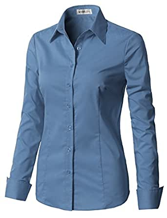 CLOVERY Women's Tailored Long Sleeve Slim Fit Button Down Shirt Denim XS