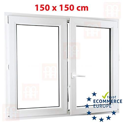 150x150 cm Kunststofffenster Zweifl/ügelige ohne Pfosten rechts 6 Kammern   wei/ß 1500x1500 mm