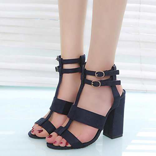 Upxiang Damenschuhe/High Heels Sandalen Damen Mädchen Ankle Straps Sandalen/Damen Fashion Party Open Toe Schuhe Blau