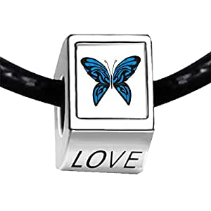 Chicforest Silver Plated Exotic Blue Butterfly Photo LOVE Charm Beads Fits Pandora Charms