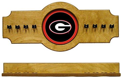 NCAA Georgia Bulldogs UGACRR100-O 2 pc Hanging Wall Pool Cue Stick Holder Rack - Oak