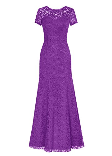 DRESSTELLS Long Lace Bridesmaid Dress Short Sleeved Evening Party Dress Purple Size 8