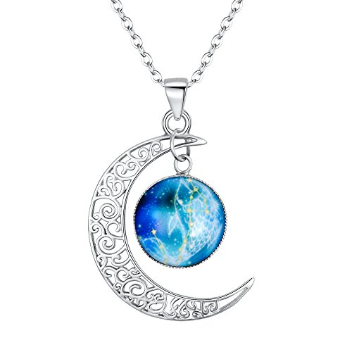 "BriLove 925 Sterling Silver Necklace for Women -""Pisces"" Galaxy Constellation Zodiac Horoscope Astrology 12 Crescent Moon Glass Bead Pendant Necklace"