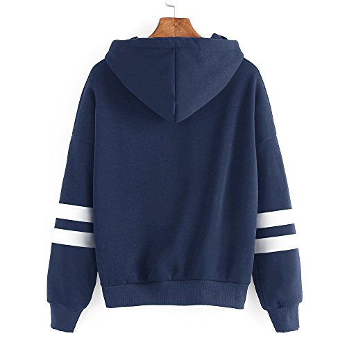Kangrunmy Blouse Longues Femmes Imprim Chemise Tunique Capuche Manches Chemisier Tops I Sweatshirt Rayures Chic Sweat Sweat Hoodie Pullover Shirt fA5qTwP5