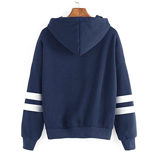 Casual Shirt da Lunghe Corte Sweatshirt Felpe Maniche Tunica T Blusa Donna Tuniche Felpa Pullover Donna Top Manica Blu Top Camicetta Pullover Lunga Donna Camicetta sciolte Elegante YnxEI8