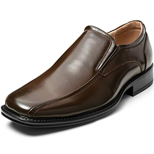 (ZRIANG Men's Dress Loafers Formal Leather Lined Slip-on Shoes (7.5 M US, Brown2))