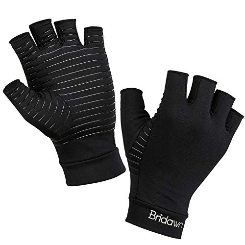 Bridawn Arthritis Compression Gloves Copper Fit Gloves Women Men High Copper Infused Fingerless for Pain Relief Rheumatoid Arthritis Hand Carpal Tunnel RSI Osteoarthritis Computer Typing, L