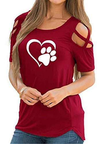 Womens Cut Out Shoulder Dog Paw Heart Printed T-Shirt Funny Summer Short Sleeve Tees Blouse Size XL (Red)