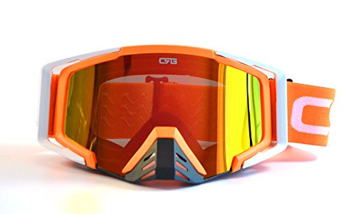 (CRG Motocross ATV Dirt Bike Off Road Racing Goggles Adult T815-105 Series (Orange and White))