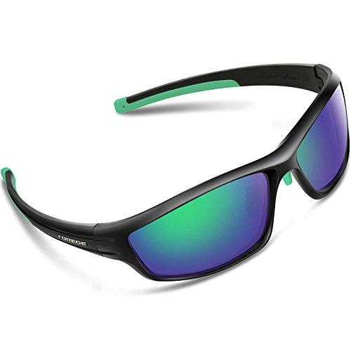 Torege Polarized Sports Sunglasses For Man Women Cycling Running Fishing Golf TR90 Unbreakable Frame TR034 (Black&Green tips&Green - Warranty Sunglasses Lifetime