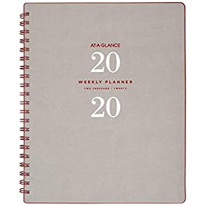 "AT-A-GLANCE 2020 Weekly & Monthly Planner, 8-1/2"" x 11"", Large, Wirebound, Signature Collection, Gray (YP90508)"
