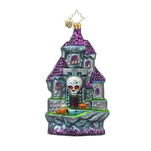 RADKO SPOOKY ENTRANCE Skull Haunted Castle Glass Ornament Halloween -