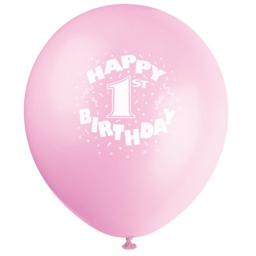1st Birthday Latex Balloons - 4