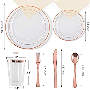 """150 Pieces Rose Gold Cups & Plastic Plates & Disposable Silverware, Crystal Clear Dinnerware Set: 25 Dinner Plates 10.25 """", 25 Dessert Plates 7.5 """", 25 Tumblers 9 Oz , 25 Forks, 25 Knives, 25 Spoons"""