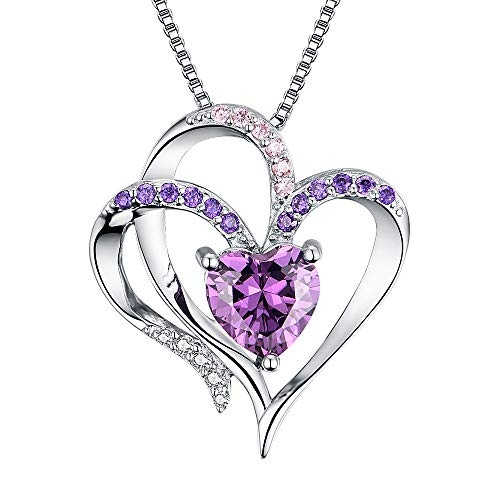 Heart Necklace 14K White Gold Plated 5A Purple Heart Cubic Zirconia Womens Pendant Necklace]()