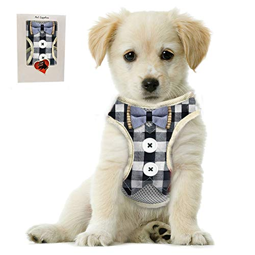 Bark Lover Small Puppy Harness with Bowtie, Adjustable Dog Mesh Tuxedo Harness Leash Set for Small Dog Kitten, Perfect for Party Wedding Holiday(S, Blue Plaid)
