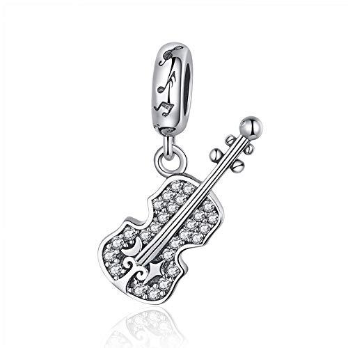 BAMOER Real 925 Sterling Silver Violin Shape Clear CZ Charms Bead for Women Bracelet Making
