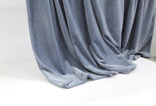 Feinste Mikrofaserdecke/Kuscheldecke, extra dick mit Silk/Cashmere Touch, ca. 150 x 200 cm, grau-blau