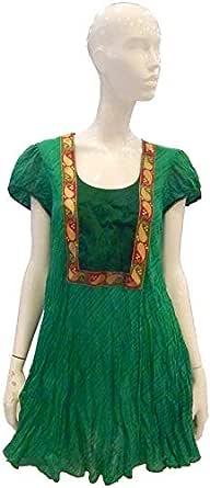 Sana'a Kayum Green Cotton Casual Dress For Women