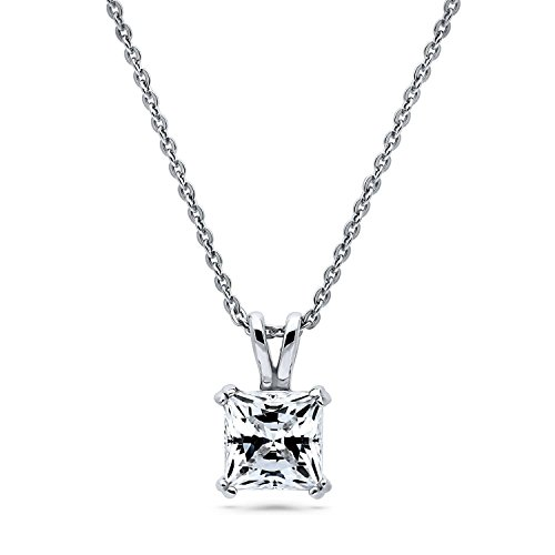 BERRICLE Rhodium Plated Sterling Silver Solitaire Anniversary Wedding Pendant Necklace Made with Swarovski Zirconia Princess Cut 1.24 CTW