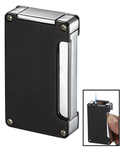 Visol Zidane Black Matte Cigar Lighter with Built-in Cigar Punch