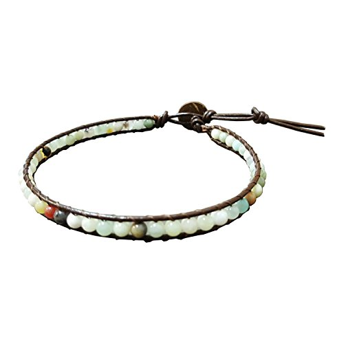 Infinity Amazonite Bead Anklet 10 Inches Ankle Bracelet Woven with Leather Cord Handmade Hippie Bohemian Unisex Style Gift Idea for Men and Women (Ankle Bracelets For Women Leather)