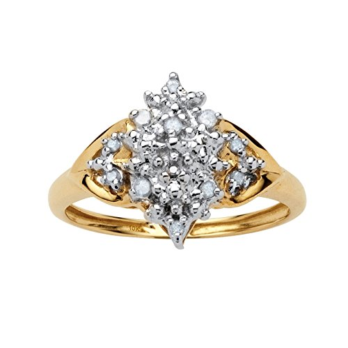 Round White Diamond 10k Gold Cluster Anniversary Ring (.10 cttw, GH Color, I3 Clarity) Size 10