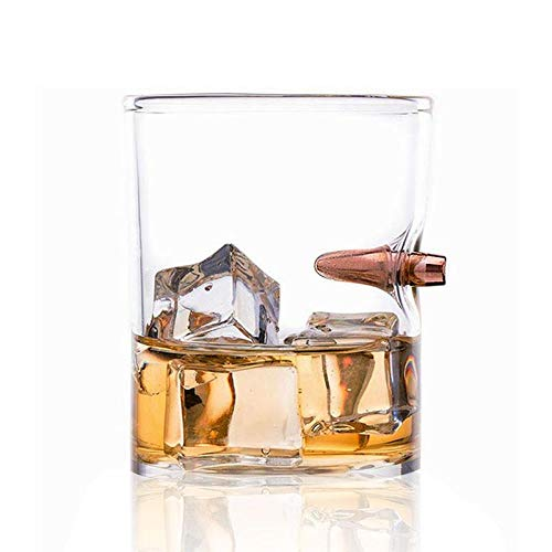Leegoal Bullet Whiskey Glass Hand-Blown,Hand Sculpted with a Faux 50 Caliber Bullet,Premium Cocktail Scotch Bourbon Crystal Brandy Vodka Handmade Stemless Wine Glass for Party Shot ()