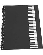 Cuaderno en blanco, composición musical, papel de música de notación musical, cuaderno de música,(Black piano pattern)