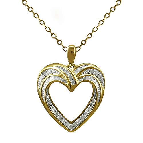 Christmas Gifts Pendant Necklace Earring Set For Women: .925 Sterling Silver Real Baguette Round Diamonds Yellow Plating with Heart Shaped Design ( 0.25cttw IJ I2I3 Clarity) by Store Indya (Image #6)